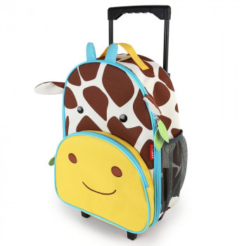 zoo kids rolling luggage giraffe