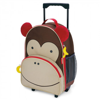 zoo kids rolling luggage monkey