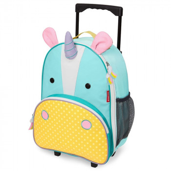zoo kids rolling luggage unicorn